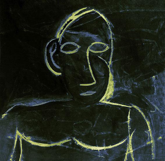 Xavier Lucchesi, Sans titre. D'après Pablo Picasso, Buste (étude pour Les Demoiselles d'Avignon), 1907. 2016