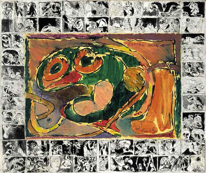 Pierre Alechinsky Central Park, 1965 Acrylique sur papier et remarques marginales à l'encre de Chine sur papier Japon, marouflé sur toile 162 x 193 cm Collection particulière Photo André Morain © ADAGP, Paris 2016
