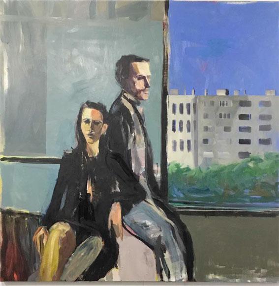 Daniel Clarke, Sans titre, 2016, huile sur lin, 200 x 200 cm