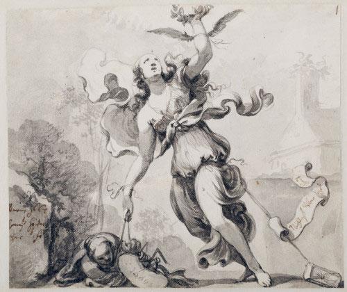 Johann von Spillenberger, Allégorie du peintre, 1667. Crayon, pinceau gris, découpé tout autour, 145 x 173 mm. Salzburg Museum © Salzburg Museum / Rupert Poschacher