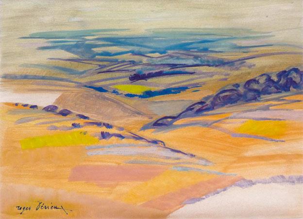 Roger Dérieux, Plateau ardéchois, 1976, huile sur papier, collection particulière