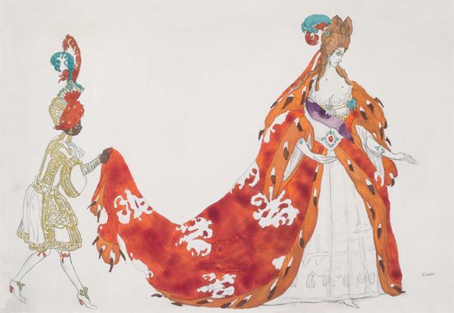"""Dessin de costume pour la reine dans """"La Belle au bois dormant"""", ballet de Marius Petipa, créé au théâtre de l'Alhambra, à Londres, le 2 novembre 1921. Crayon, aquarelle et gouache. Collection particulière © Bertrand Huet"""