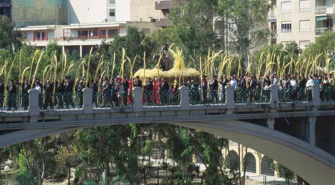 9 avril 2017 - Procession du dimanche des rameaux, Paseo de la Estación Elche-Elx, Elche Alicante, Communauté de Valence
