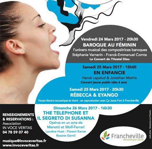 Festival In Voce Veritas, Francheville (Rhône), du 24 au 26 mars 2017