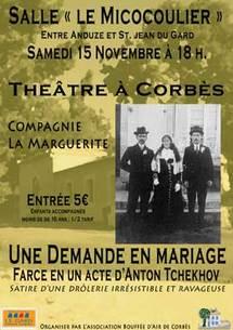 15/11 > Une demande en mariage d'Anton Tchekhov, Compagnie la Marguerite, salle Le Micocoulier à Corbès (30)