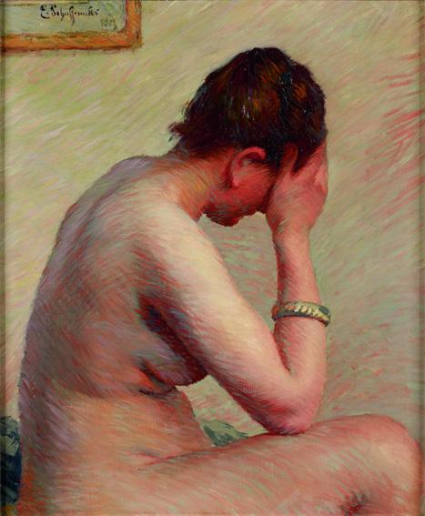 Claude Émile Schuffenecker, Nu accoudé - Femme nue assise sur un lit, 1885 © Ralph Feiner, Malans/Schweiz