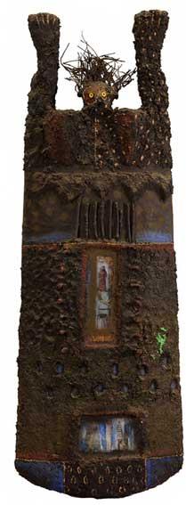 Totem I, 2000 – Sculpture – Bois, métal, verre, pigments et matières composites – H. - 109 cm – Collection particulière © DR