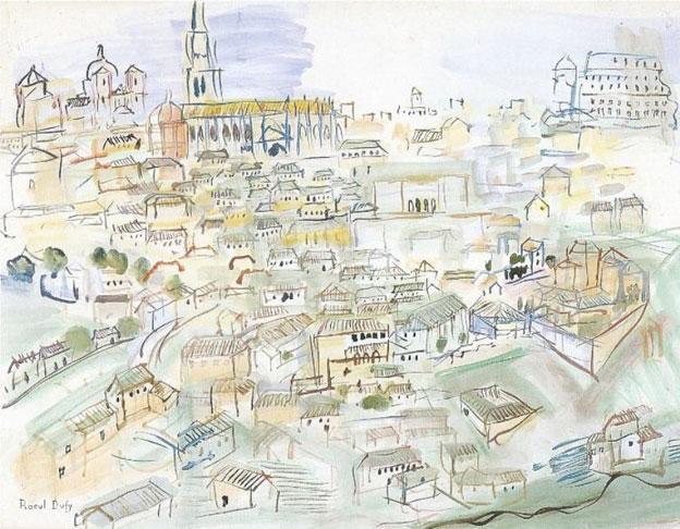 Raoul Dufy, Tolède, Aquarelle, 50 x 65 cm