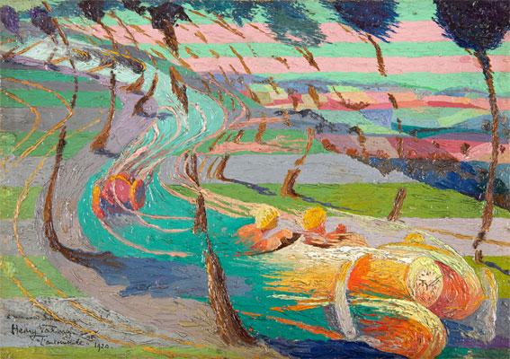 Henry Valensi Etude pour expression de l'automobile, 1920 Huile sur toile 23,5 x 33 cm © Collection privée Courtesy Galerie Le Minotaure