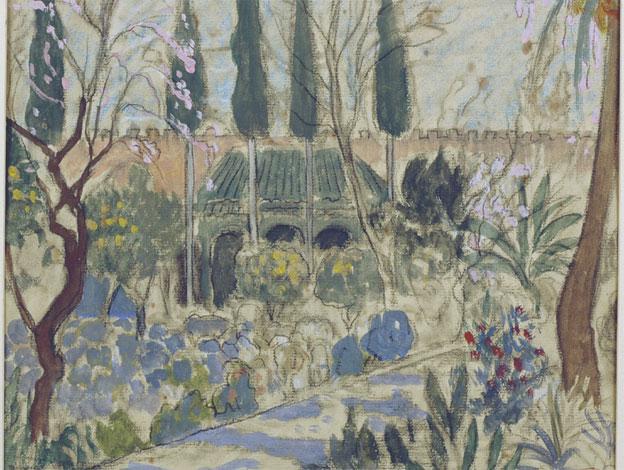 André Suréda, Jardin aux arbres en fleurs, Marrakech