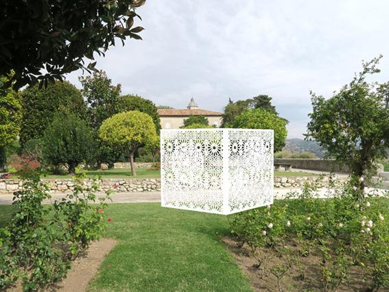 Inauguration de l'œuvre « Observatoire » de Caroline Bouissou, Jardins du Monastère de Cimiez, Nice, le 6 avril 2017