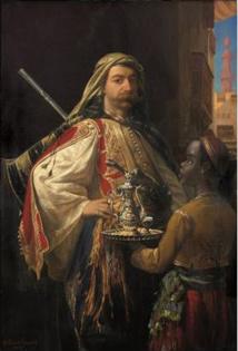 Portrait du baron Lycklama à Nijeholt en costume oriental. Emile Vernet-Lecomte et Pierre Tetar Van Elven