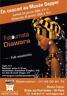 24 et 25 janvier : Fatoumata Diawara La nouvelle voix d'or malienne : une révélation, Musée Dapper