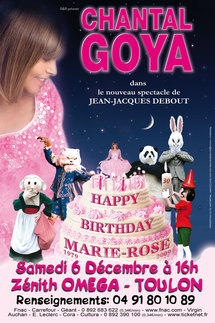 5 Avril, nouveau spectacle de Chantal Goya au Zenith Oméga à Toulon