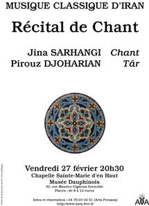 27 février, Récital de chant classique persan au Musée Dauphinois à Grenoble