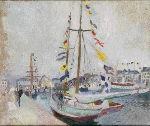 Dufy Raoul. Le Yacht pavoisé au Havre, 1904, huile sur toile. Le Havre, musée Malraux – Photographie Florian Kleinefenn © ADAGP