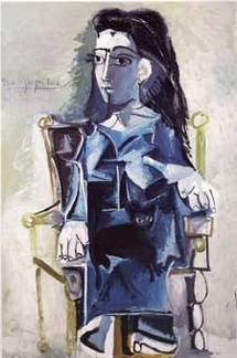 Pablo Picasso, Jacqueline assise dans un fauteuil, 1964 Huile sur toile, 195x130 cm Collection particulière, photo C.Germain-ImageArt / © Succession Picasso 2009
