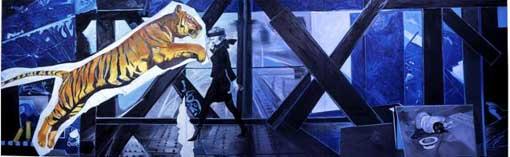 Tigre n°2, 2008, Huile sur toile, 150 x 470 cm ; Adagp Paris 2009
