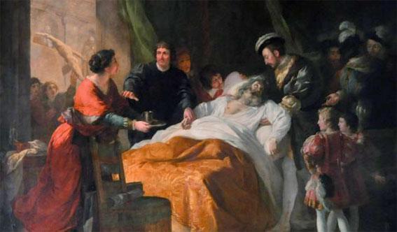 La mort de Léonard de Vinci par François-Guillaume Ménageot 1781 ©Ville d'Amboise
