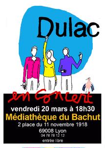 20 mars, concert Dulac, variété pop acoustique fantomatique, Médiathèque du Bachut (Lyon 8°)