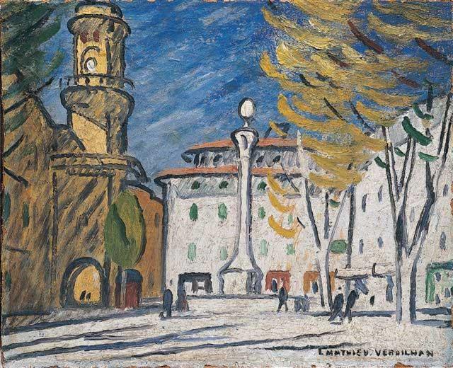Louis-Mathieu Verdilhan, Place de Hôtel de Ville, Aix-en-Provence, 1908-1912, Huile sur toile, 65 x 85 cm