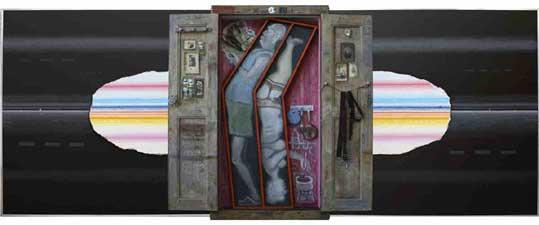 tryptique n°24 : Sarcophage , 2008.Technique mixte 162 x 414 x 29 cm (la porte ouverte)