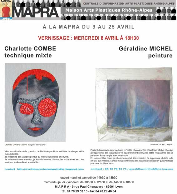 9 au 25 avril, Charlotte Combe et Géraldine Michel à la Mapra, à Lyon