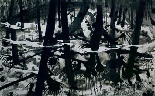 Christine Jean Saules pleureurs, encre de chine sur papier marouflé sur toile 195 x 295 cm, 2008