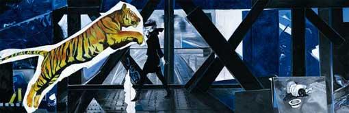 Jacques Monory, Tigre n°2, 2008 Huile sur toile, 150x470cm © ADAGP Paris 2009