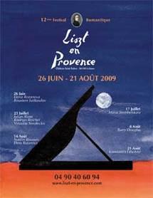 Festival Liszt en Provence au Château Saint Estève d'Uchaux (Vaucluse). Avec Elena Rozanova, Roustem Saïtkoulov, Julian Riem, Rodrigo Reichel, Vytautas Sondeckis, Barry Douglas, Konstantin Lifschitz