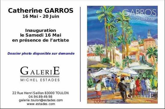 16 mai au 20 juin, exposition Catherine Garros à la galerie Estades à Toulon, Var