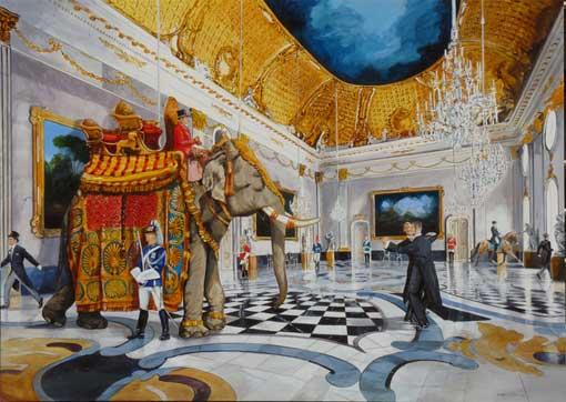 Ignacio Goitia. La Valse du Grand Tour - acrylique sur toile - 2009 - 260 x190 cm