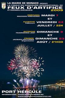 En juillet et août, Concours International de Feux d'Artifice Pyromélodiques 2009 à Monaco