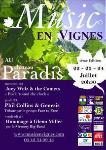 22 au 24 Juillet, Music en Vignes au Château Paradis