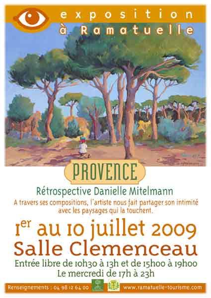 1er au 10 juillet, rétrospective Danielle Mitelmann, Provence, salle Clémenceau à Ramatuelle