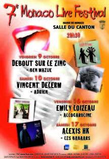 9, 10, 16 & 17 octobre, 7ème Monaco Live Festival à 21h à la salle du Canton à Monaco