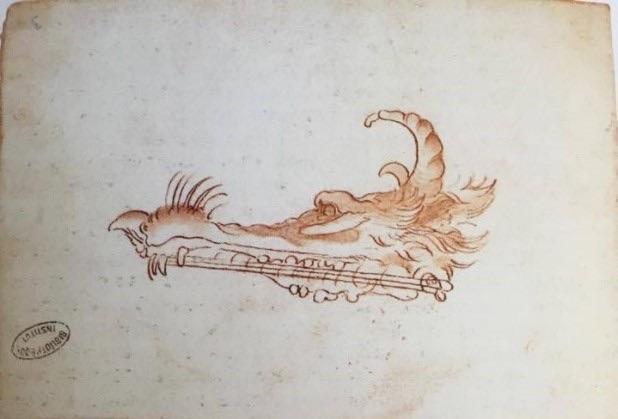 Léonard de Vinci, [...] Une lyre fantastique, vers 1487-1490, Plume et encre, 222 x 158 mm, Paris, Bibliothèque de l'Institut de France, Codex Ashburnham