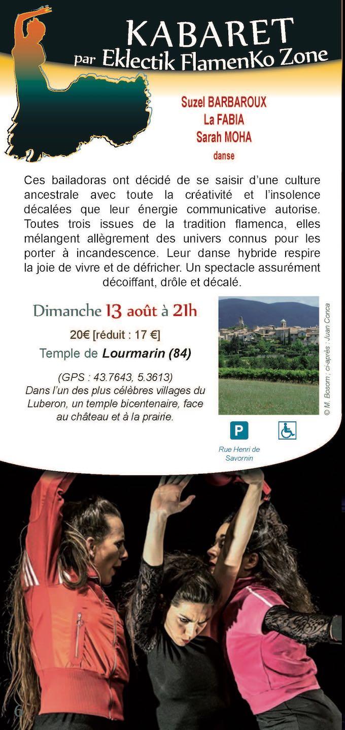 Festival Durance Luberon : Kabaret par Eklectic Flamenko Zone à Lourmain, Vaucluse, le 13 août  2017