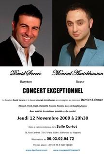 12 novembre, Mourad Amirkhanian, basse,  et David Serero, baryton, en concert salle Cortot, Paris