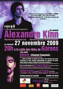 27 novembre 2009 à 20h à la salle des fêtes de Garons, Concert Raje 'Nouvelle scène française'