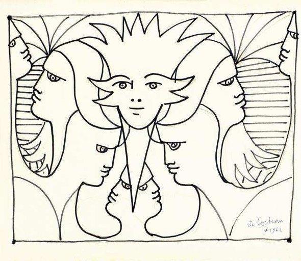 Cocteau, « Foule de visages » - 1962 Marker noir - 32 x 27 cm