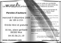 9 décembre, Soirée paroles d'auteurs au MUSEAAV, à Nice
