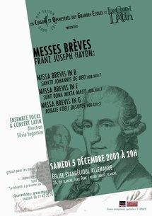 5 décembre, Messes brèves de Haydn par l'Ensemble Vocal des Chœurs et Orchestres des Grandes Ecoles (COGE) et le Concert Latin