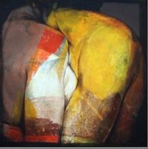 Prise de contact Acrylique et papier sur toile 100 x 100 cm