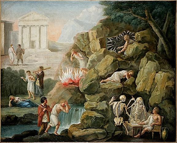 L'initiation maçonnique, huile sur toile, XIXe s.