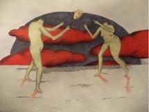 Théodora Fragiadakis, « les joueurs », 2009 feutres et crayons de papier, © de l'artiste