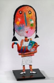 Jehan, Fillette au chaton, sculpture 35 x 14 x 13 cm