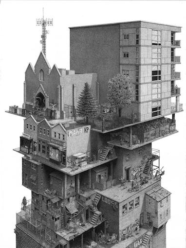 Tower, 2017, encre sur papier, 76 x 56cm