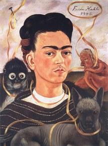 Frida Kahlo - Autorretrato con changuito (Self-Portrait with Small Monkey), 1945. - © Collection Museo Dolores Olmedo, Xochimilco, México