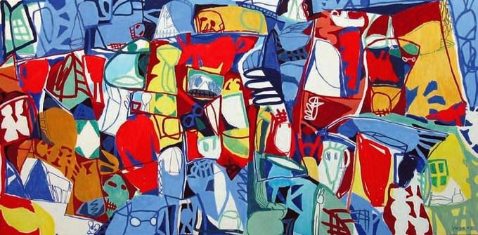 Jan Voss, Omnivores, 2003, 220 x 400 cm, acrylique sur toile